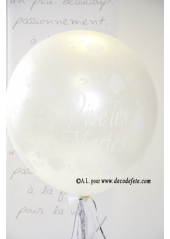1 ballon GEANT 90cm Vive les Mariés blanc