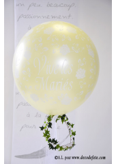 1 ballon GEANT 90cm Vive les Mariés ivoire