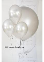 1 ballon GEANT 90cm argent nacré