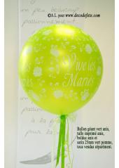 1 ballon GEANT 90cm Vive les Mariés vert pomme