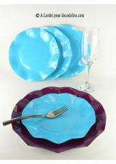 10 Assiettes à dessert fleur turquoise