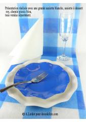 10 Assiettes à dessert fleur bleu roy