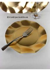 10 Assiettes à dessert fleur or MAT