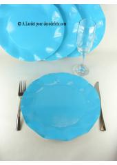10 Assiettes fleur turquoise