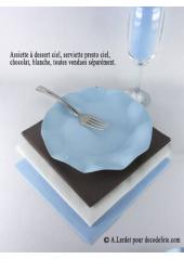 10 Assiettes à dessert fleur bleu ciel