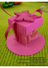 10 petits cubes transparent et fushia