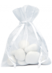 10 Sachets organdi blanc