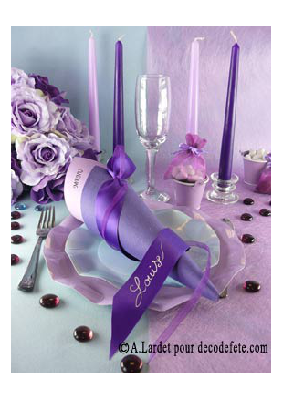 10m chemin de table sublim parme lilas - Chemin de table violet ...