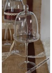 1 cloche en verre sur pied 30cm