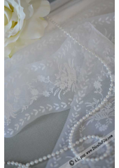 20M Tulle ruban panier de fleurs blanc