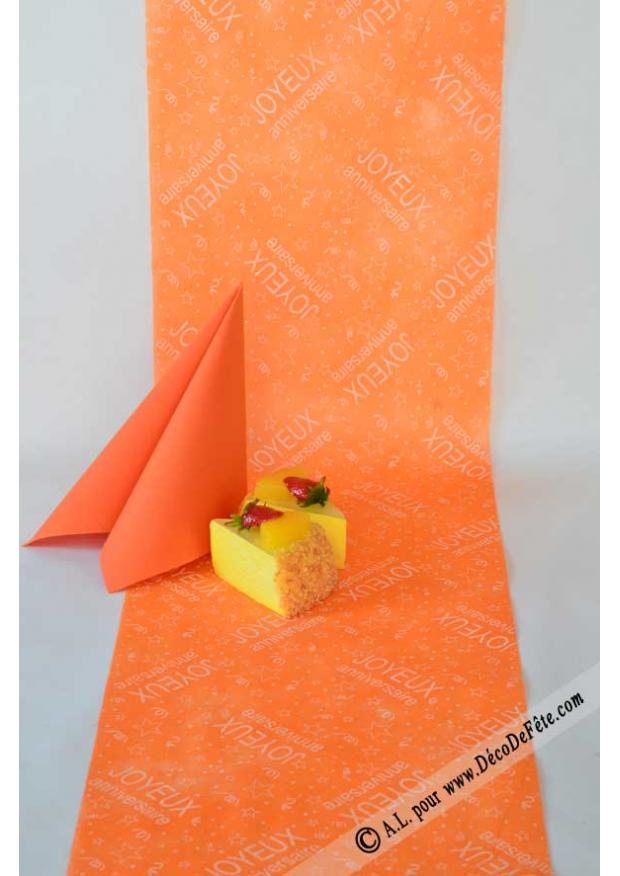 10m chemin de table joyeux anniversaire orange - Chemin de table orange ...