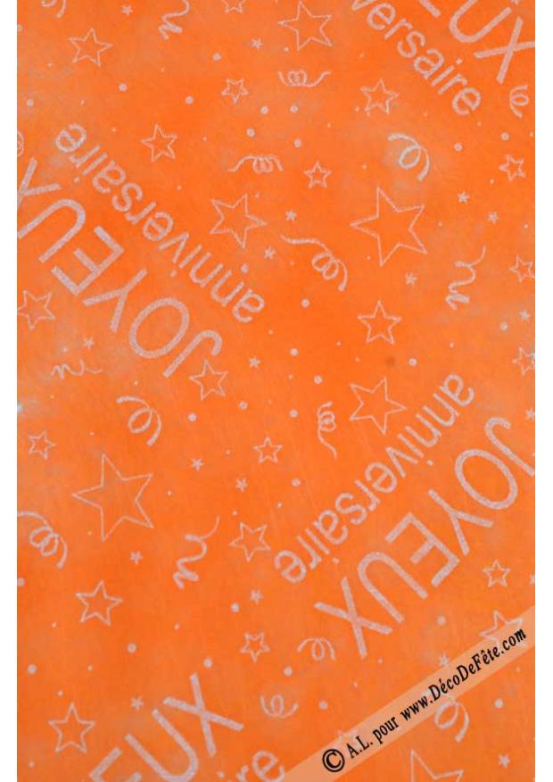 10m chemin de table joyeux anniversaire orange. Black Bedroom Furniture Sets. Home Design Ideas