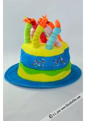 1 Chapeau bougies anniversaire 40 ans turquoise