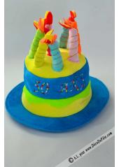 1 Chapeau bougies anniversaire 50 ans turquoise