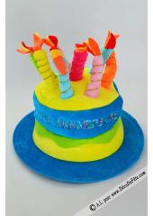 1 Chapeau bougies JOYEUX ANNIVERSAIRE turquoise