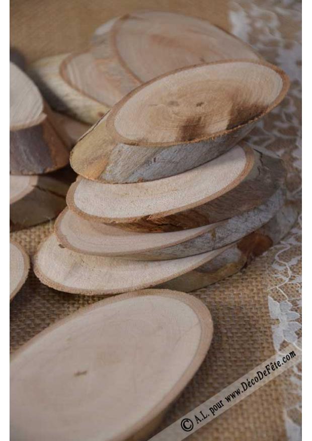 12 tranches de bois ovales. Black Bedroom Furniture Sets. Home Design Ideas