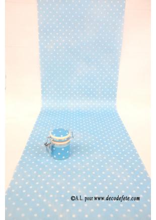 5m chemin de table plumetis bleu ciel chemins de table for Chemin de table bleu