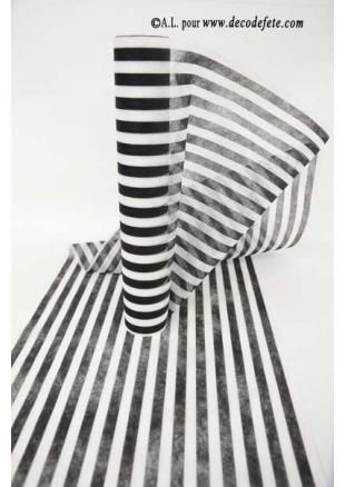 5m chemin de table bayadere noir chemins de table rayures noires - Chemin de table noir et blanc ...