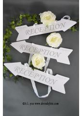1 pancarte flèche Réception blanc