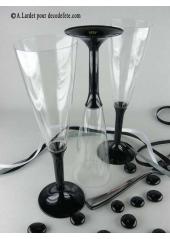10 Flutes à champagne noir