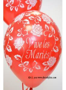 6 ballons Vive les Mariés rouge nacré
