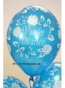 6 ballons Vive les Mariés bleu turquoise nacré