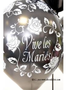 6 ballons Vive les Mariés noir nacré