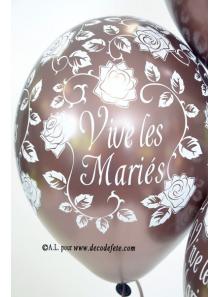 6 ballons Vive les Mariés chocolat nacré