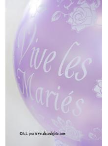 1 ballon GEANT 90cm Vive les Mariés lavande