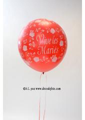1 ballon GEANT 90cm Vive les Mariés rouge