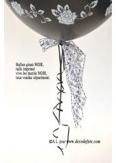 1 ballon GEANT 90cm Vive les Mariés noir