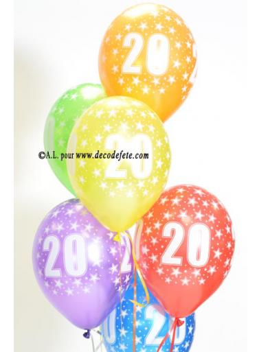 6 BALLONS 20 ANS multicolore nacré