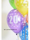 8 BALLONS 20 ANS multicolore
