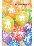 6 BALLONS 30 ANS multicolore nacré