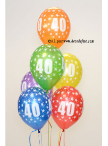 6 BALLONS 40 ANS multicolore nacré