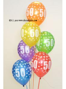 6 BALLONS 50 ANS multicolore nacré