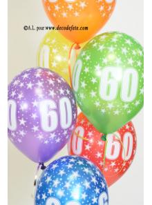 6 BALLONS 60 ANS multicolore nacré