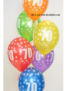 6 BALLONS 70 ANS multicolore nacré