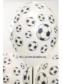 6 ballons Football blanc