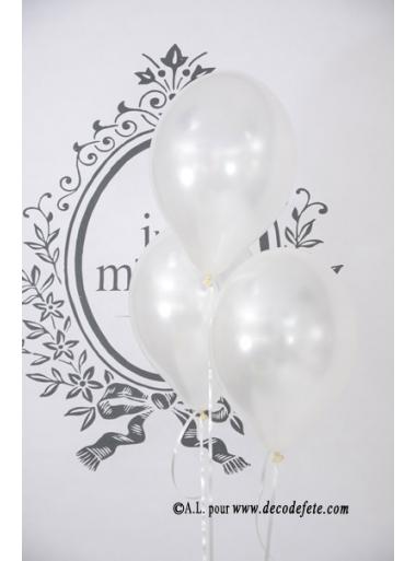 6 ballons blanc nacré
