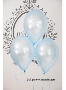 8 ballons bleu ciel nacré