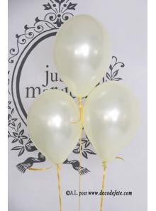 6 ballons ivoire nacré