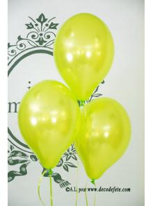 6 ballons vert pomme nacré