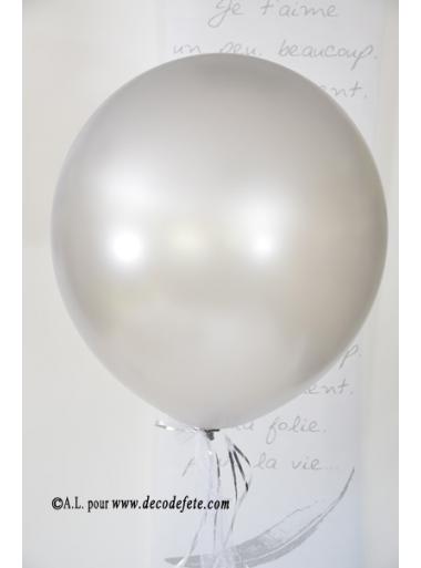 1 ballon GEANT 58cm argent nacré