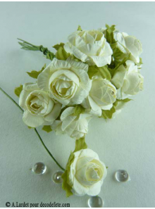 12 Roses ouvertes blanches