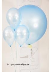 1 ballon GEANT 90cm bleu ciel nacré