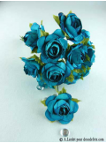12 Roses ouvertes turquoise