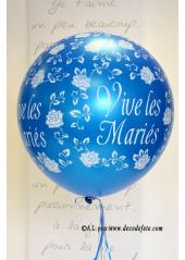 1 ballon GEANT 90cm Vive les Mariés cyan/turquoise