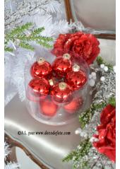 10 boules rouge brillant et mat
