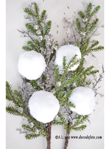 4 Boules de neige blanche